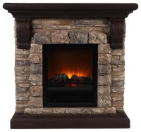 Faux Stone Portable Fireplace, Large traditional-indoor ...