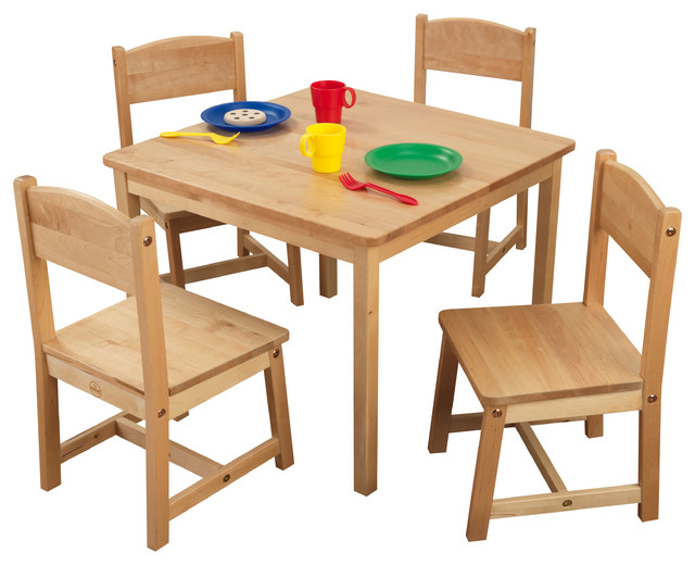 kidkraft farmhouse table and chair set espresso high backed 4 chairs, natural by - transitional kids tables chairs ...
