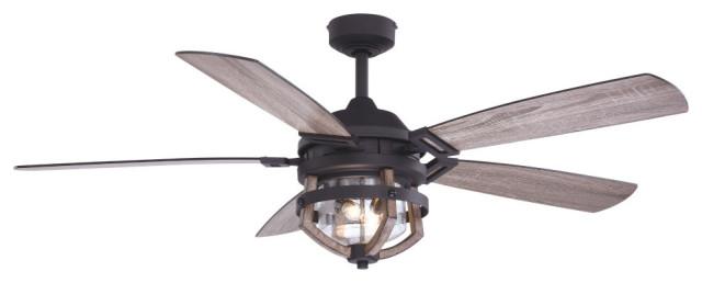 barnes 54 black rustic oak farmhouse outdoor ceiling fan light kit remote