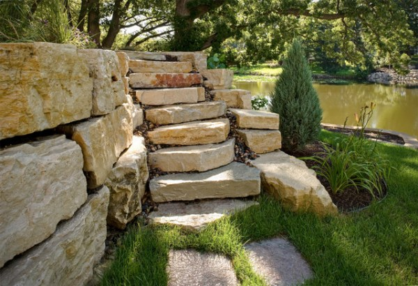 boulder wall with steps - traditional