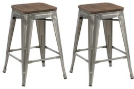 "24"" Antique-Style Clear Brush Distressed Counter Stools Wood Seat, Set of 4"