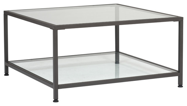 camber 30 modern metal and glass square coffee table in pewter clear