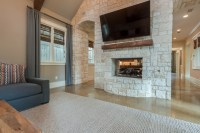 Stone Feature Wall & Fireplace - Transitional - Family ...