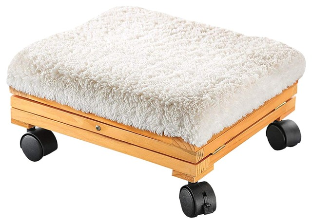 etna sherpa top foot rest rolling collapsible cushioned foot stool ottoman