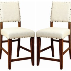 Upholstered Chair With Nailhead Trim Drive Diamond Walker Transport Ivory Linen Like Counter Dining Chairs Set Of 2