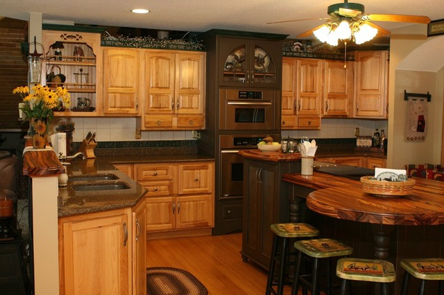 Hickory Kitchen With Unique Island Shape  Traditional  Kitchen  Minneapolis  by Lampert