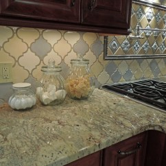 Grey Kitchen Cabinets For Sale Faucets Sinks Tri-color Arabesque Backsplash - Traditional ...