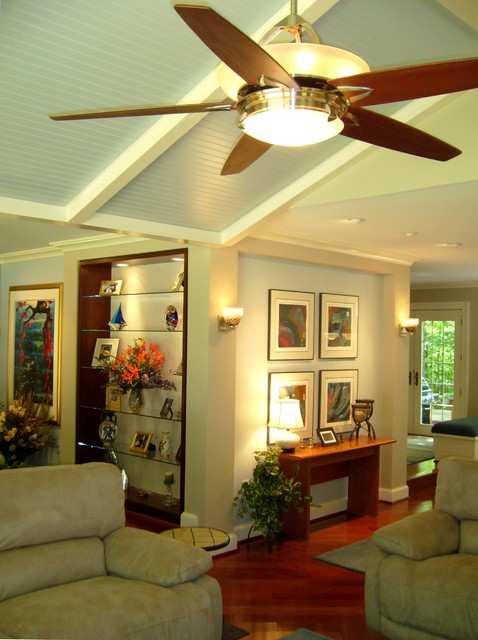 Family Room Gallery Walls with Ceiling Fan Brazilian Cherry Wood Flooringjpg  Modern  Family