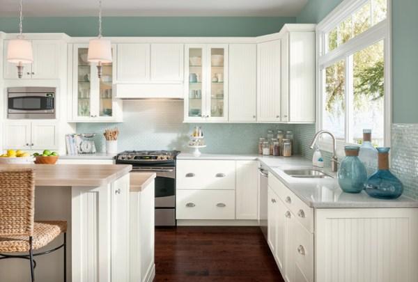 american woodmark kitchen cabinets Coastal Casual - Shorebrook Painted Linen