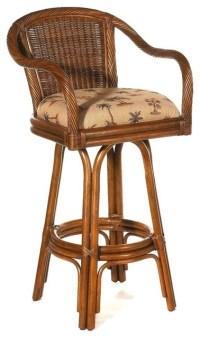 Rattan Swivel Stool w Upholstered Seat (Hamtpon ...