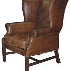 Leather Wingback Chairs Black Outdoor Rocking Chair Canada Gaston Rustic Lodge Aged Library Arm