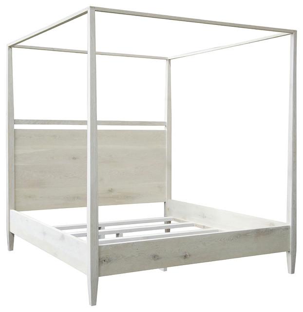 cfc furniture washed oak modern 4 poster bed queen