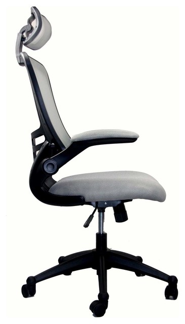 office chair with headrest sling chaise lounge techni mobili executive high back w in silver grey chairs by beyond stores