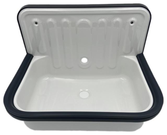 wall mounted service utility sink white glazed steel dark navy blue trim