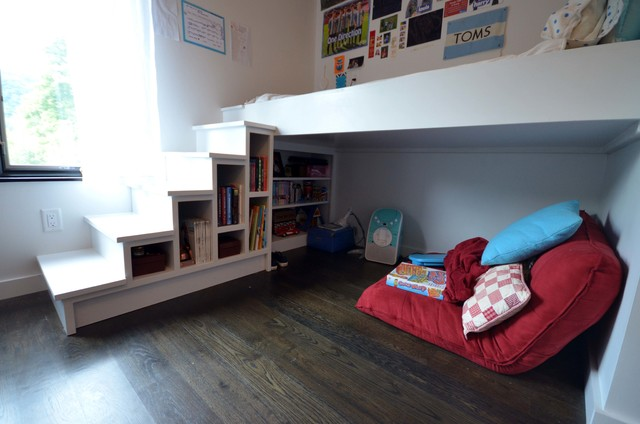 Lofted bed with storage and reading nook  Contemporary