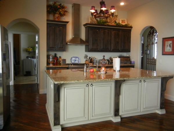 cream kitchen with islands Distressed black walnut stain with cream island
