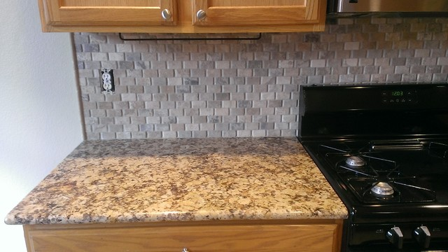 small lamps for kitchen counters glass cabinet doors - backsplash basket weave stone / no grout ...