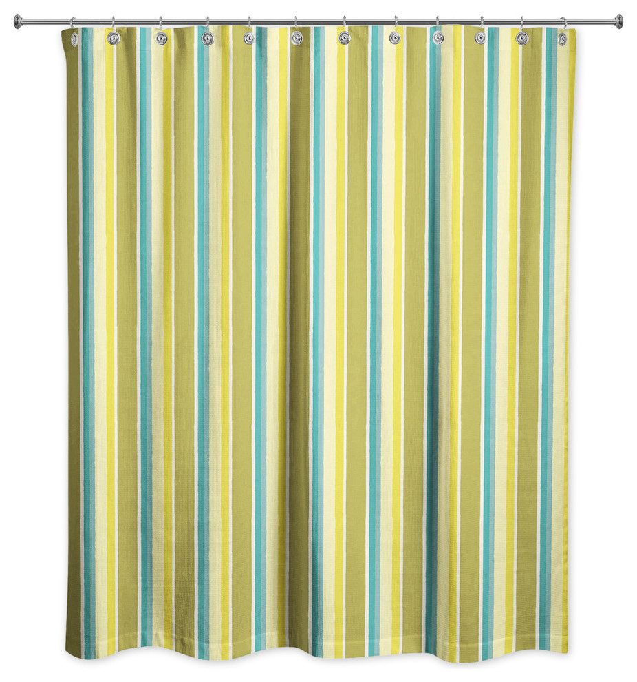 stripes in green shower curtain