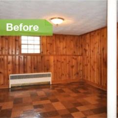 Chair Gym Before And After Glider Rocker Uk Knotty To Nice: Painted Wood Paneling Lightens A Room's Look
