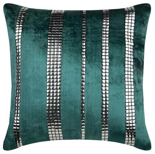 green throw pillow cover velvet silver sequin 18 x18 velvet emerald city