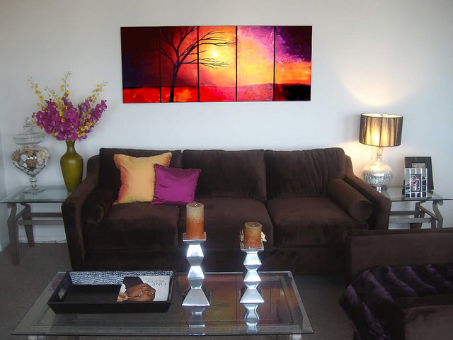 artificial plants for living room curtain decor ideas landscape abstract paintings - contemporary ...