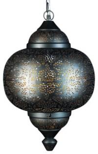 Oriental Pierced Metal Pendant Light - Asian - Pendant ...