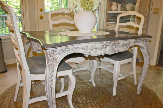 french country kitchen chairs amazon large chair covers custom painted antique table - eclectic atlanta