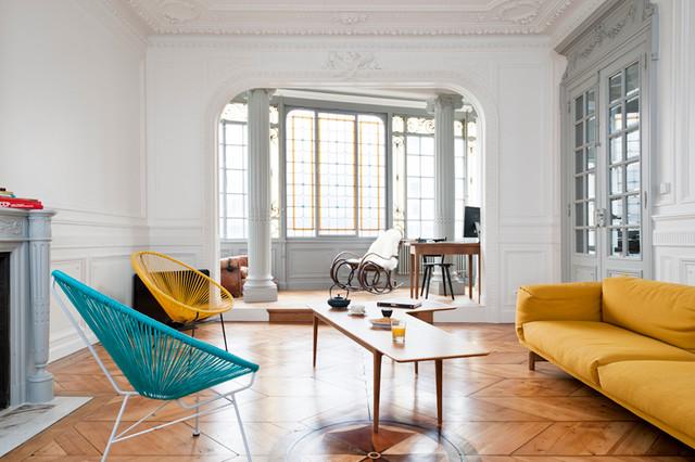 Rnovation dun appartement haussmannien  Contemporain  Salle de Sjour  Bordeaux  par Fusion D