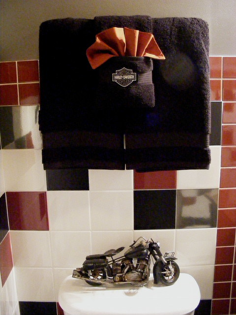 tiny kitchen remodel waste baskets harley-davidson bathroom - traditional ...