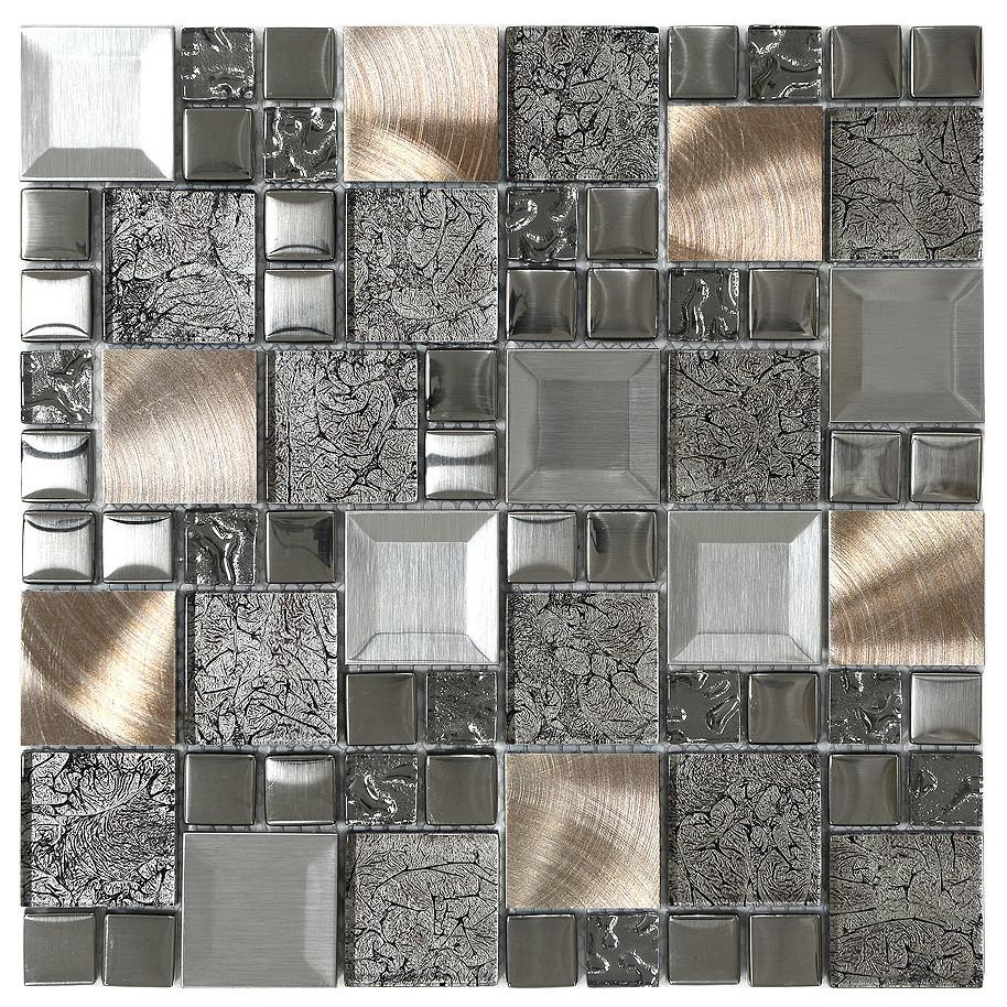 glass metal mix mosaic backsplash tile 12 x12
