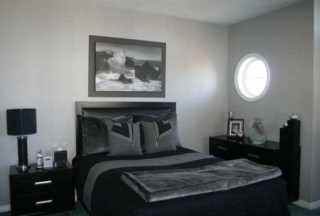 grey black bedroom contemporary