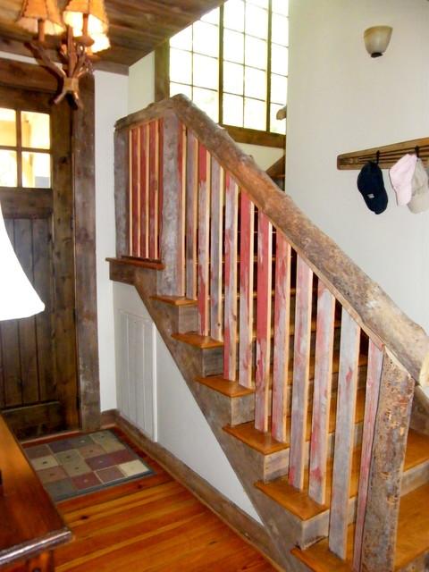 Reclaimed Barn Siding Interior Trim and Railing