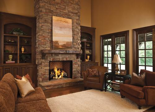 Fireplace Each Bookshelves Side