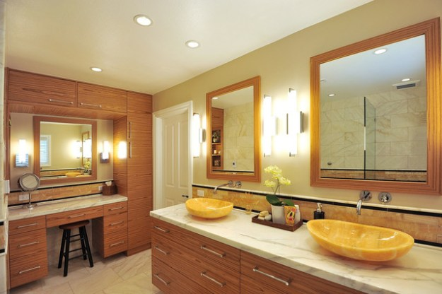 master bath montecito with honey onyx vessel sinks - contemporary