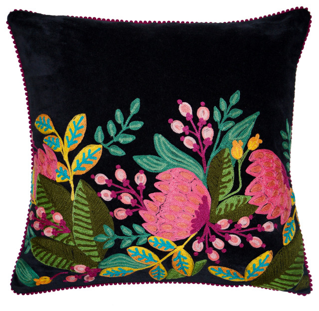 precious black velvet floral pillow 18x18