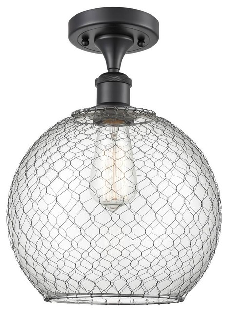 Large Farmhouse Chicken Wire 1-LightSemi-Flush Mount With
