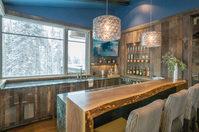 Mountain Village Ski Chalet  Telluride CO  Rustic  Home Bar  Denver  by Designs West