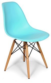 Molded Plastic Dowel Dining Chair, Blue - Midcentury ...