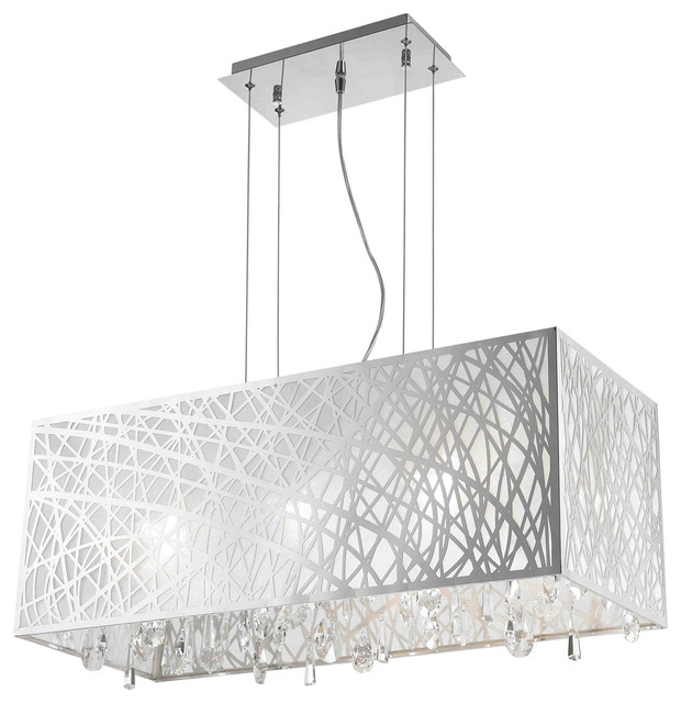 High Gloss Modern 6 Light Chrome Rectangle Drum Shade Clear Crystal Chandelier Contemporary Chandeliers