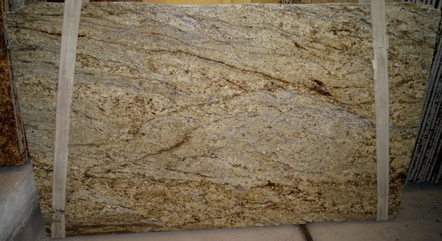 Yellow river granite slab  Traditional  Kitchen