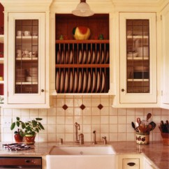 Wooden Kitchen Plate Rack Cabinet Drum Light Old Farmhouse - San Francisco By ...