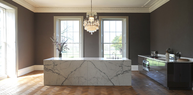 Large Marble Island In Statuary Marble Contemporary Kitchen