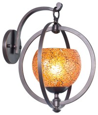 Cirque 1-Light Wall Sconce, Mosaic Amber Glass, Matte ...