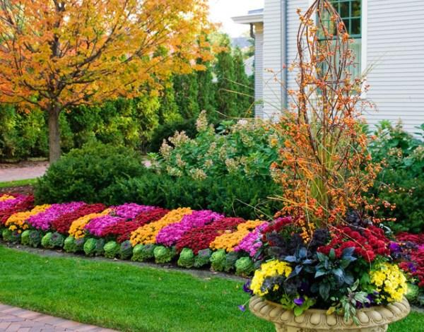 fall flower beds - contemporary