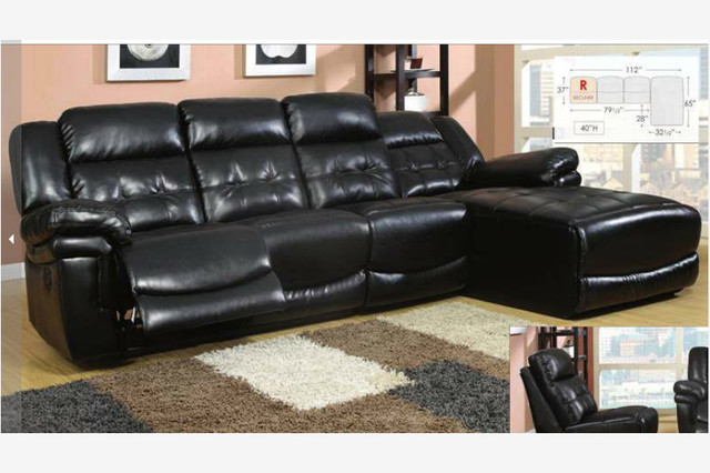Black Leather Reclining Sectional Sofa Recliner Chaise Adjustable Back