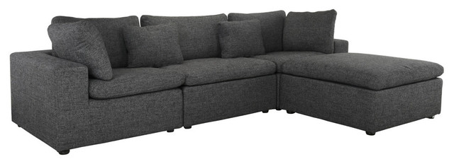 large lounge sectional sofa low profile solid wood frame linen dark gray