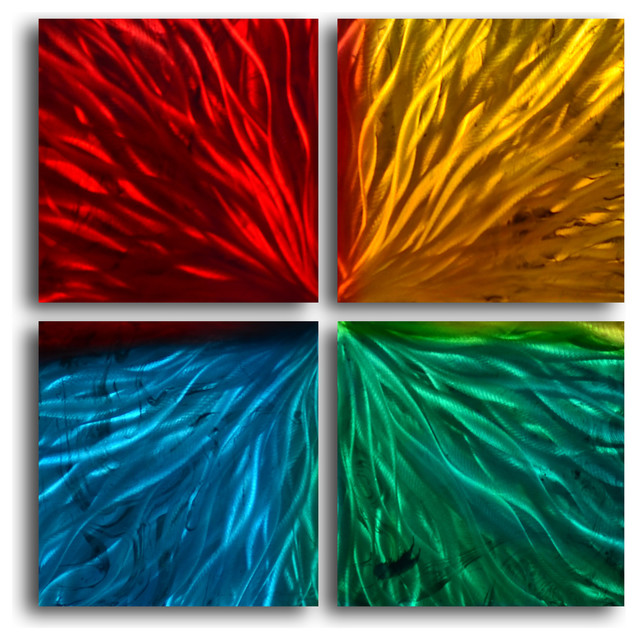 Wilmos Kovacs Modern Art Abstract Metal Wall Decor Sculpture Rainbow Painting W994