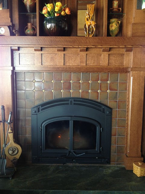 Arts  Crafts Fireplace  Craftsman  Family Room  other metro  by North Prairie Tileworks Inc