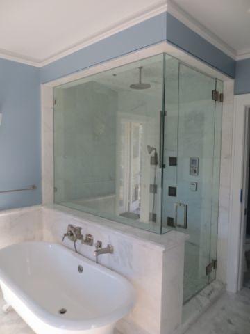 Steam Shower and Clawfoot Tub  Transitional  Bathroom