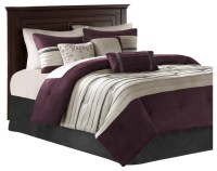JLA Madison Park Polyster Palmer Comforter Set, Plum ...